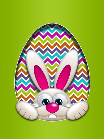 the rabbit hole: easter bunny in egg hollow with place for text