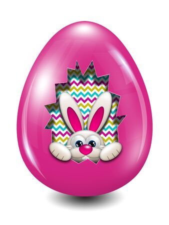 hollow: easter bunny in egg hollow over white background