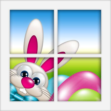 paschal: easter cartoon bunny with eggs looking by the window