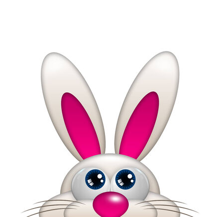 looking up: easter cartoon bunny looking up isolated over white background Stock Photo