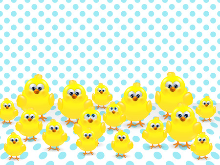 chicks: cartoon easter chicks over spring spotted background Stock Photo