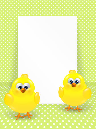 chicks: cartoon easter chicks and white blank over dotted background