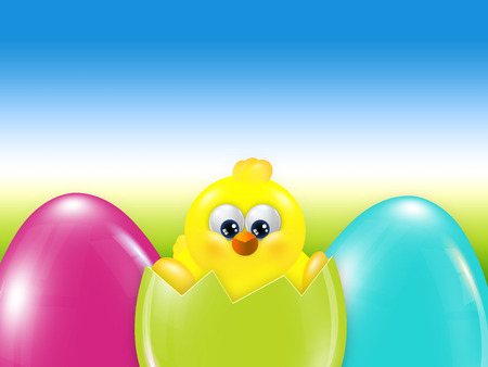 hatched: easter chick  hatched from egg over blue sky with place for text Stock Photo