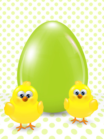 passover and easter chick: cartoon easter chicks and egg over dotted background