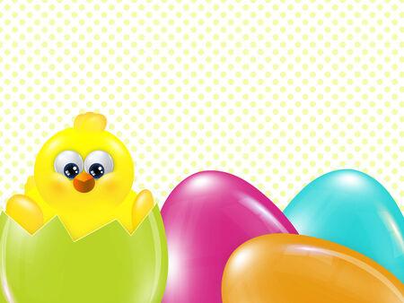 hatched: easter chick  hatched from egg over dots background with place for text