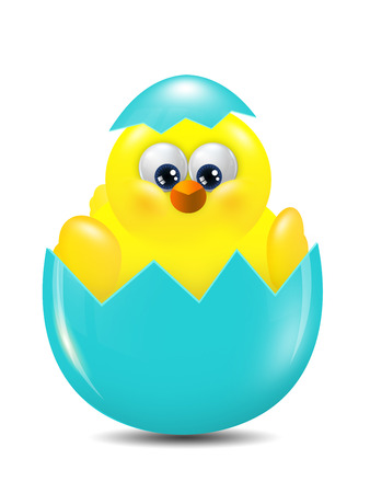 hatched: cartoon easter chick hatched from egg over white background