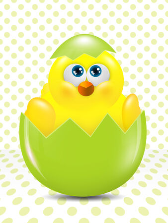 passover and easter chick: cartoon easter chick hatched from egg over dots background