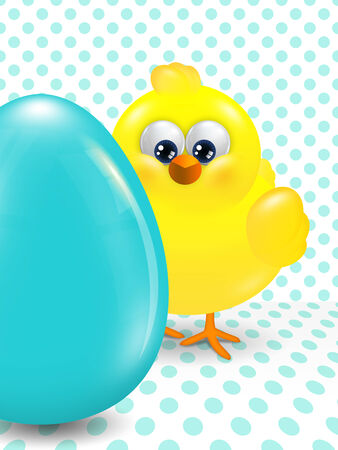 passover and easter chick: cartoon easter chick and egg over dotted background