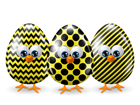 passover and easter chick: easter yellow and black eggs isolated over white background
