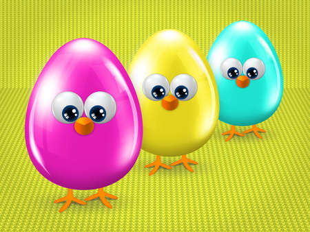place for text: cartoon easter eggs with place for text Stock Photo