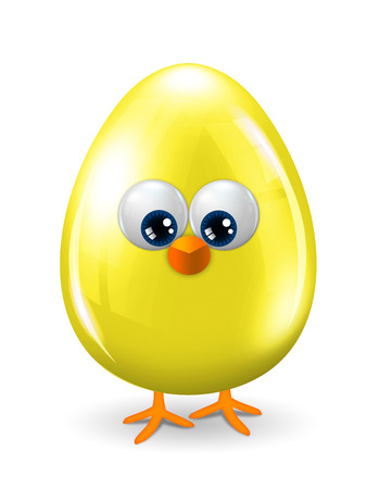 cartoon yellow easter egg with eyes, beak and legs isolated over white background Stock Photo