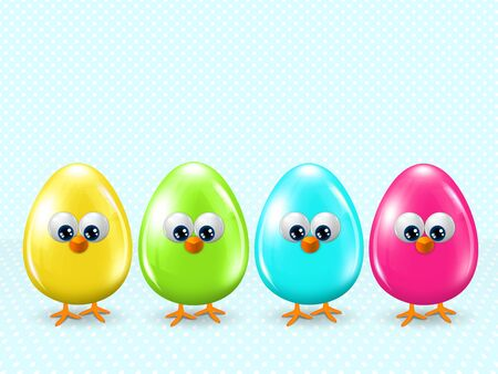 passover and easter chick: four easter cartoon eggs staying in row with place for text