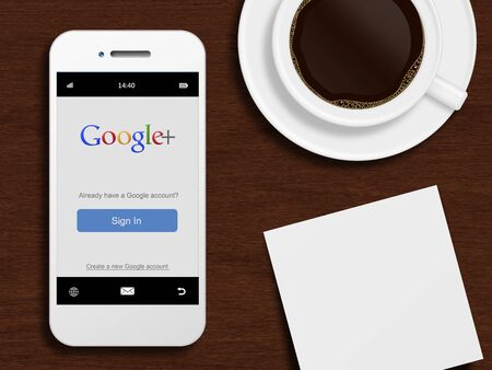 google plus: Gdansk, Poland - October 24, 2014: mobile phone with google plus login page lying on desk with coffee and note