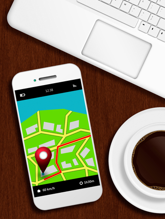 od: mobile phone with gps application, laptop and coffee lying od wooden desk