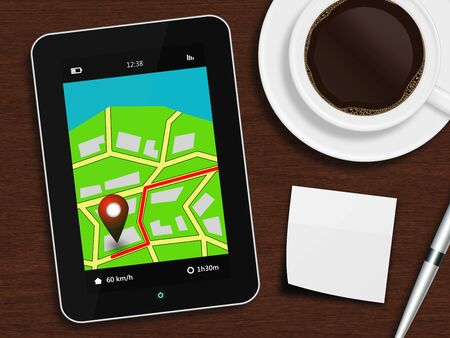 potable: tablet with navigation application, cup of coffee, pen and white note lying on wooden desk