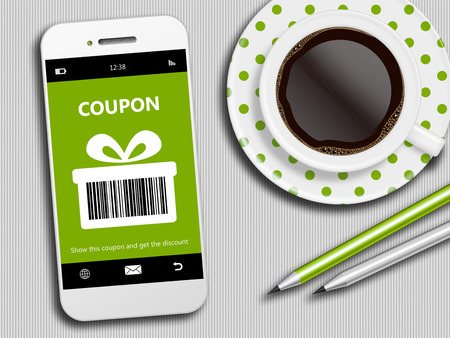 mobile phone with spring discount coupon, coffee and office tools 版權商用圖片 - 37312780