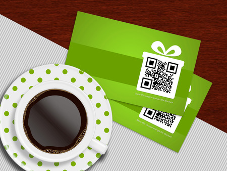 cup of coffee with spring discount coupons lying on white tablecloth