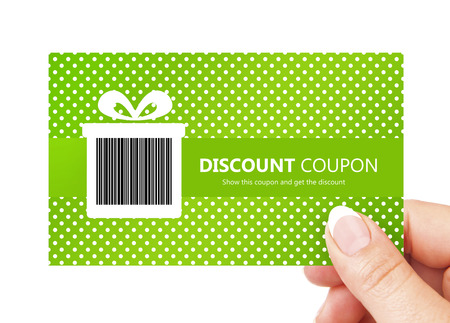 discount card: hand holding spring discount card isolated over white background Stock Photo