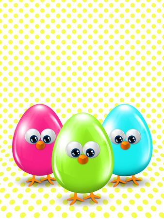 passover and easter chick: three colored Easter eggs standing on dotted background with place for text