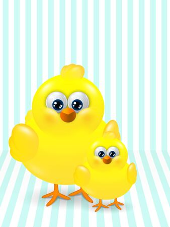 passover and easter chick: two Easter chicks standing on stripped background with place for text