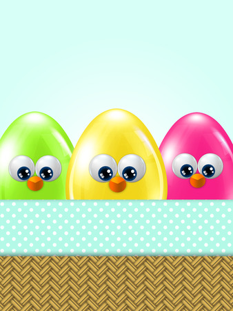 passover and easter chick: cartoon easter eggs in basket with place for text