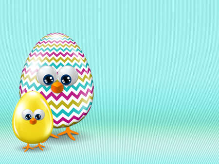 passover and easter chick: colored Easter eggs staying on turquoise background with place for text