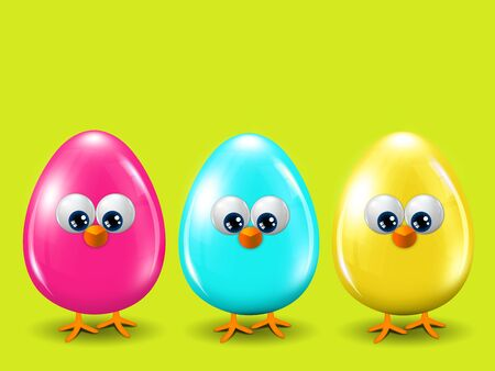 passover and easter chick: three colored Easter eggs standing on spring green background with place for text Stock Photo