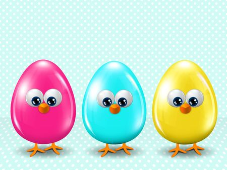 passover and easter chick: three colored Easter eggs standing on blue dotted background with place for text