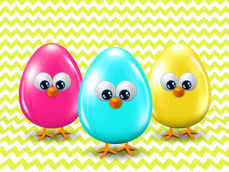 passover and easter chick: three colored Easter eggs standing on green zigzag background with place for text Stock Photo