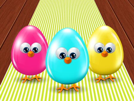 passover and easter chick: three colored Easter eggs standing on stripped tablecloth