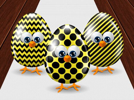 passover and easter chick: three colored Easter eggs standing on  white tablecloth