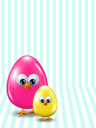 passover and easter chick: two colored Easter eggs standing on stripped background with place for text Stock Photo
