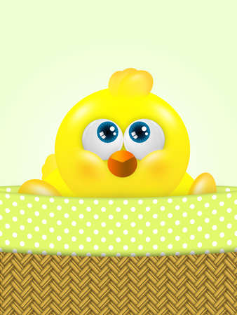 passover and easter chick: cartoon easter chick in basket looking up with place for text Stock Photo