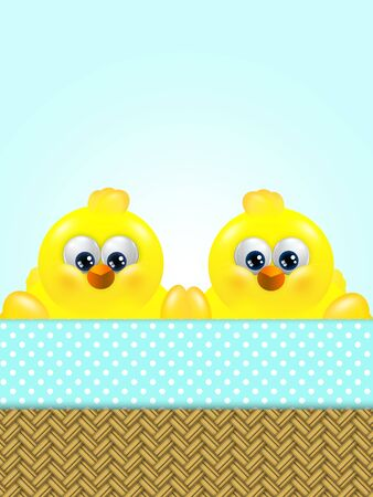 passover and easter chick: cartoon easter chicks in basket looking up with place for text