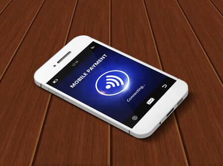 non cash: white mobile phone with mobile payment lying on wooden table Stock Photo