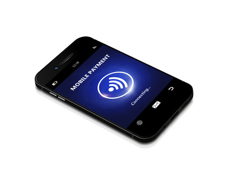 contactless: black mobile phone with contactless payment isolated over white background Stock Photo