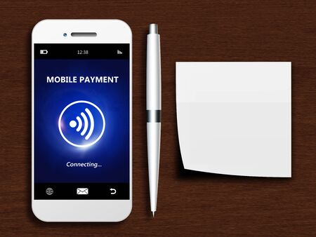 non cash: mobile phone with mobile payment, pen and empty note lying on wooden desk Stock Photo