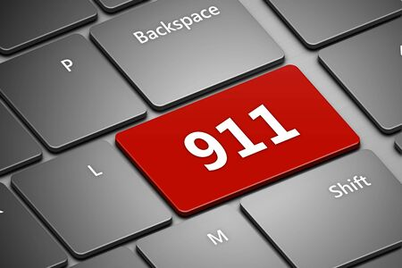emergency number: closeup of computer keyboard with emergency number 911 Stock Photo