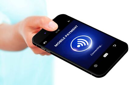 non cash: hand holding mobile phone with mobile payment isolated over white background