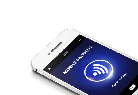 non cash: mobile phone with moble payment isolated over white background Stock Photo