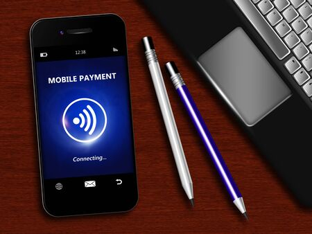 non cash: mobile phone with spring discount coupon, laptop and office tools lying on desk