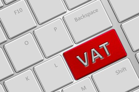 vat: computer keyboard with vat button Stock Photo