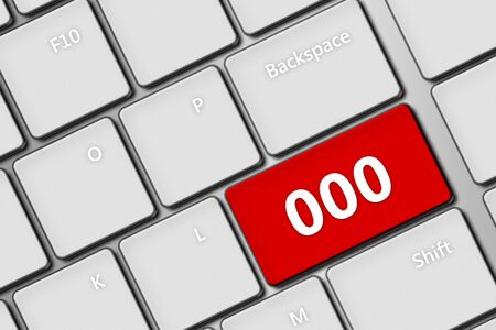 emergency number: closeup of computer keyboard with emergency number 000 Stock Photo