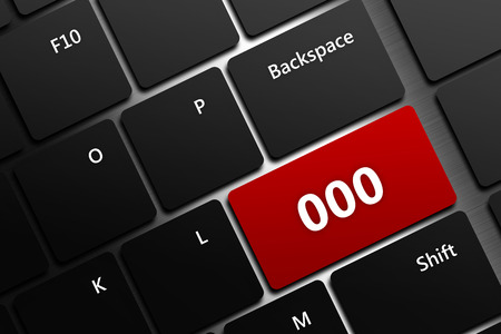 safety officer: closeup of computer keyboard with emergency number 000 Stock Photo