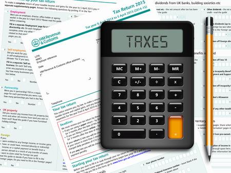 SA100 aangiftebiljet met rekenmachine en potlood liggend op tafel Stockfoto