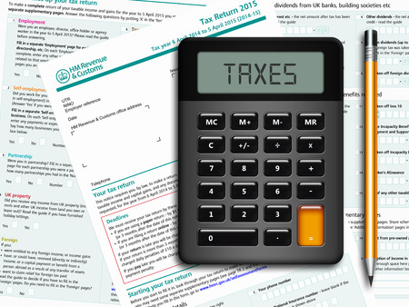 SA100 tax return form with calculator and pencil lying on table Stock Photo