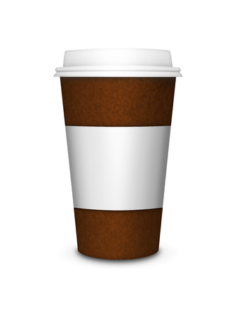 cappucino: disposable coffee cup isolated over white background Stock Photo