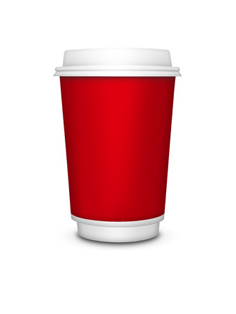 cappucino: disposable drink cup isolated over white background