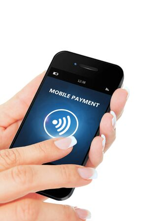 non cash: hand holding mobile phone with mobile payment application isolated over white background