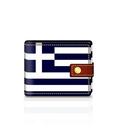 greek flag: wallet with greek flag isolated over white background Stock Photo